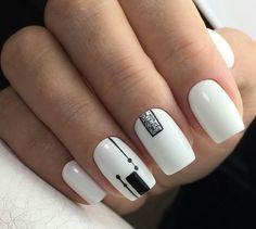 45 White Matte Nail Art Designs for 2018 - NailArts Black And White Nail Art, White Nails, Black Art, Black White, Matte Nail Art, Acrylic Nails, Minimalist Nails, Best Nail Art Designs, Elegant Nails