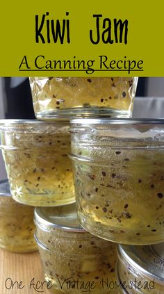 Kiwi Jam ⋆ One Acre Vintage & Pumpkin Patch Mtn. Kiwi Jam: A Canning Recipe ⋆ One Acre Vintage & Pumpkin Patch Mtn. Kiwi Jam, Homemade Jelly, Homemade Jam Recipes, Home Canning, Canning Jars, Canning 101, Canning Labels, Jelly Recipes, Kiwi Fruit Recipes
