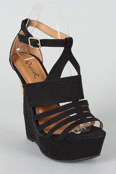 Qupid Jubilee-06 Strappy Open Toe Wedge