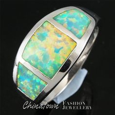 EMERALD GREEN FIRE OPAL INLAY SILVER JEWELRY BAND RING US SIZE 9 #Chinatown #Band