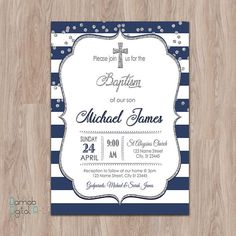 Your place to buy and sell all things handmade Christening Invitations Boy, Baby Boy Christening, First Communion Invitations, First Birthday Gifts, First Birthdays, Nautical Baptism, Blue And Silver, Navy Blue, Invitation Cards