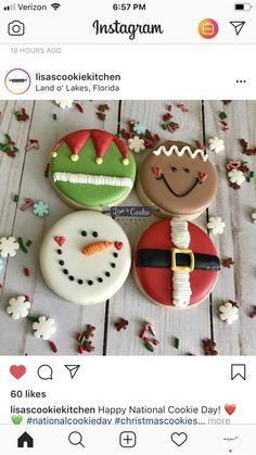 christmas cookies royal icing Weihnachtspltzchen L - christmascookies Cute Christmas Cookies, Snowman Cookies, Christmas Snacks, Iced Cookies, Christmas Cooking, Holiday Cookies, Cupcake Cookies, Holiday Treats, Cookies Et Biscuits