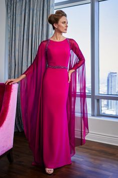 Jade Couture by Jasmine A stretch soft crepe flare gown with dramatic Tiffany chiffon floor-length angel sleeves. The jewel neckline is trimmed with embroidery and Evening Dresses, Prom Dresses, Wedding Dresses, Bride Dresses, Jade Couture, Vows Bridal, Plus Size Gowns, Black Mother, Gowns With Sleeves