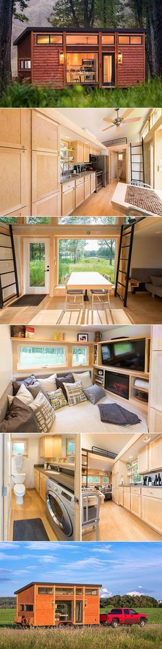 The camper measures in at 28 feet long, and includes 269 square feet of living space. Inside the confines of the mobile cabin you'll find two lofts providing sleeping quarters, dining space, a kitchen complete with full-size range, fridge and microwave, along with a full bathroom below one of the sleeping quarters. All in all, there's enough room for you and 5 of your friends.