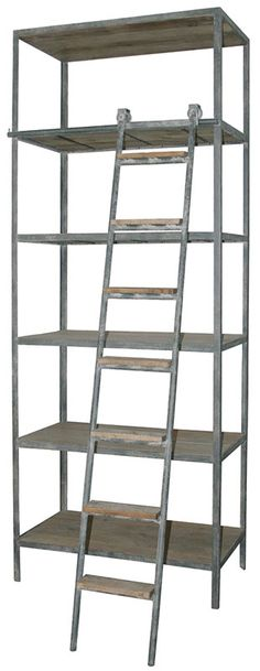 Cool industrial shelves with ladder