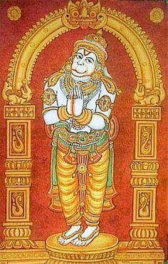 Hanuman Mysore Painting, Kerala Mural Painting, Tanjore Painting, Indian Art Paintings, Shri Hanuman, Krishna Art, Krishna Painting, Madhubani Art, Indian Folk Art