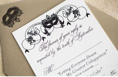 Luxury Wedding Invitations by Ceci New York - Our Muse - Masquerade Wedding - Be inspired by Athena & Michael's masquerade wedding - wedding, invitations, foil printing, letterpress printing, die cutting, offset printing