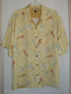 RARE-TOMMY-BAHAMA-Silk-Jacquard-Hula-Girl-Short-Sleeve-Mens-Aloha-Shirt-Sz-XL