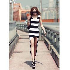 White And Black Stripe Fashion Retro Arc Pendulum Dress H6016w for... via Polyvore
