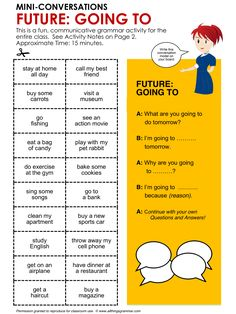English Grammar, Conversation Practice Activity, Future: Going To, MINI-CONVERSATIONS, http://www.allthingsgrammar.com/future-going-to.html