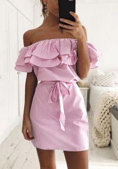 Pink Striped Sashes Boat Neck Fashion Cotton Mini Dress - Mini Dresses - Dresses