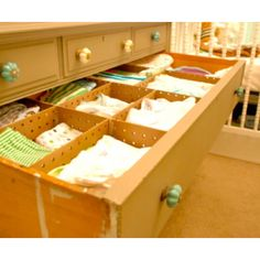 Drawer organizers! Since baby stuff is little ;)