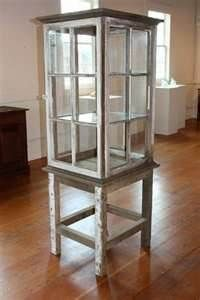 old windows as a display cabinet