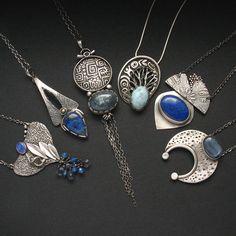 Blue Gemstones - Jewelry by Anna Fidecka Fiann - Blue Gemstones â . - Blue Gemstones – Jewelry by Anna Fidecka Fiann – Blue Gemstones – Jewelry by Anna Fidecka Fia - Metal Clay Jewelry, Jewelry Art, Fine Jewelry, Fashion Jewelry, Jewelry Making, Gold Jewelry, Jewellery Bracelets, Mixed Metal Jewelry, Dainty Jewelry