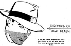 If an atomic bomb explodes near you make sure you tilt your hat to shield your eyes
