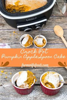 Crock Pot Pumpkin Apple Spoon Cake - The Farmwife Feeds Slow Cooker Desserts, Cooker Recipes, Crockpot Recipes, Pie Recipes, Drink Recipes, Delicious Recipes, Easy Recipes, Yummy Food, Quick Apple Dessert
