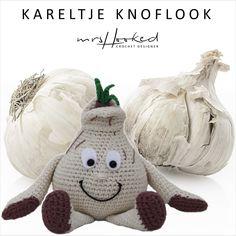 Kareltje knoflook - Vitamini - fruit - groente - gratishaakpatroon - haken - gehaakte knoflook - knuffel - mrshooked