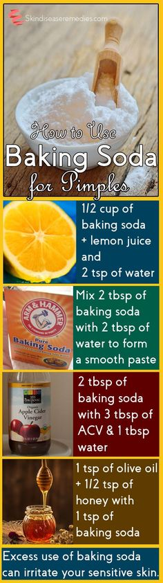 How to Get Rid of Pimples with Baking Soda? If you've sensitive skin then be careful using baking soda, excess use can strip natural oils leaving your skin dry. Test on a small patch of the skin before applying it over the face. Repeated use of baking soda may irritate your sensitive skin and lead to infection. Experts recommend using no more than twice per week on the skin.