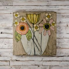 Generous Bloom Floral Painting on Wood by Cecel Allee