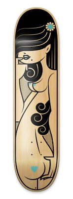 Lady shapes on a skate deck. Like the black on raw, pretty neat