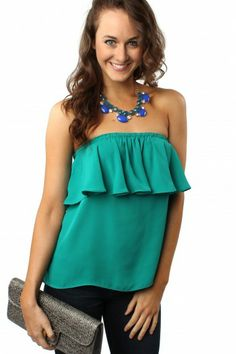 Ruffle Strapless Blouse Teal $28.99 #sophieandtrey #tops #blouses #strapless #ruffle