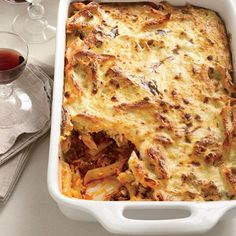 The moist and fragrant casserole pastitsio combines bechamel (butter, flour and milk), pasta, ground lamb, tomato sauce, cheese, cinnamon, etc