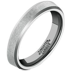 4MM Tungsten Carbide Ring Wedding Engagement Band Comfort Fit Beveled Edge Brushed Classy