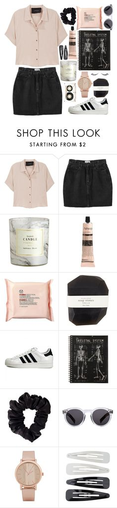 """""""❁◕ ‿ ◕❁"""" by flannerypaige ❤ liked on Polyvore featuring Rachel Comey, Monki, H&M, Aesop, The Body Shop, Pelle, adidas Originals, American Apparel, Illesteva and ALDO"""