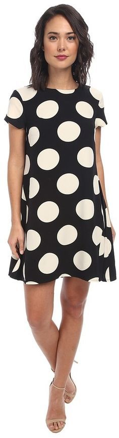 $178, Short Sleeve Crepe Polka Dot Shift Dress by Donna Morgan. Sold by Zappos. Click for more info: http://lookastic.com/women/shop_items/198740/redirect