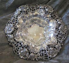 Sterling Silver Dominick & Haff Reticulated Poppy Large Bowl circa 1910