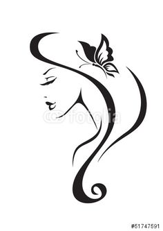 Vector: Black and white silhouette of the girl