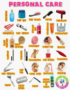 Personal Care Vocabulary                                                                                                                                                                                 Mais