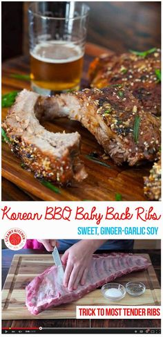 Slather ribs with Korean BBQ flavors: sweet, ginger-garlic soy glaze. Plus secret trick to the most tender ribs - fall off the bone! Rib Recipes, Asian Recipes, Vegetarian Recipes, Cooking Recipes, Healthy Recipes, Smoker Recipes, Ethnic Recipes, Korean Ribs, Asian Ribs