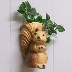 ceramic wall pockets | Vintage Squirrel Ceramic Wall Pocket / Vase