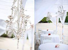 A beach wedding reception dining canopy at Magen's Bay, St. Thomas, USVI by blueskyceremony.com