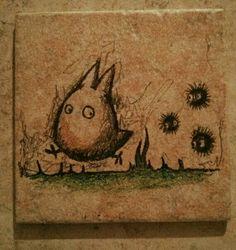 Chibi Totoro Ceramic Tile art