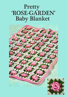 Items similar to PDF Vintage Baby Pretty Rose Garden Granny Square Blanket Crochet Pattern Afghan Shawl Kitsch Heirloom Groovy Retro Cute Kawaii on Etsy Granny Square Blanket, Granny Square Crochet Pattern, Crochet Blanket Patterns, Crochet Motif, Baby Patterns, Crochet Afghans, Crochet Flowers, Crochet Ideas, Crochet Baby