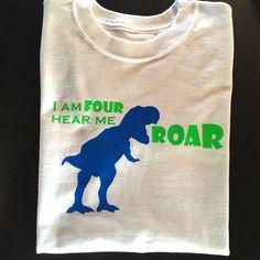 I am FOUR hear me ROAR Dinosaur Shirt  Fourth Birthday