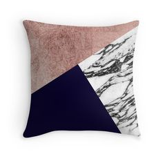 Modern Marble Rose Gold and Navy Blue Tricut Geo by Blkstrawberry
