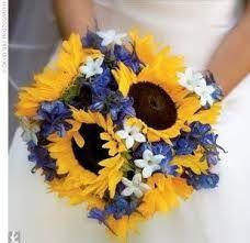 cornflower and sunflower wedding bouquet - Google Search