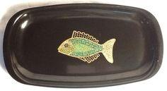 Vintage Couroc of Monterey Mosaic Fish Platter /ebay