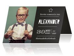 Uitnodiging eerste communie fotokaart teksten jongen krijtbord