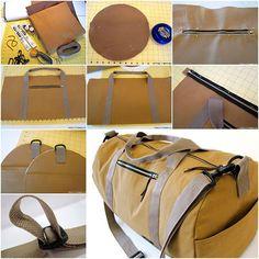 Sewing Bags Canvas duffle bag step by step how to - DIY Fleece Star Baby Wrap Blanket Diy Duffle Bag, Canvas Duffle Bag, Duffle Bag Patterns, Backpack Pattern, Baby Wrap Blanket, Sacs Tote Bags, Duffel Bags, Sac Week End, Diy Sac