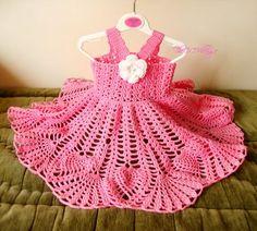 Pink Crochet baby dress Handmade girl dress White by TheCCVillage
