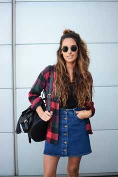 denim skirt & plaid overshirt