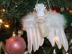 Chef Angel Ornament Recycle Wine Cork Or Bottle by WineTimeAnytime Wine Cork Ornaments, Angel Ornaments, Christmas Ornaments, Recycled Wine Corks, Bottle Necklace, White Feathers, Christmas In July, Recycling, Great Gifts