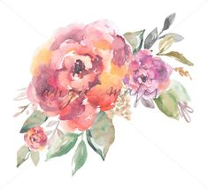 Adorable Watercolor Flower Bouquet Download.