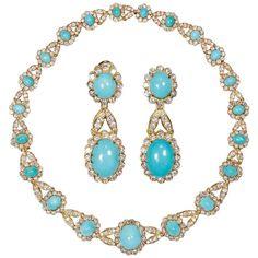 Iconic Van Cleef & Arpels Turquoise/Diamonds set. 1965. $195,000