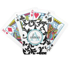 Black and Turquoise Monogrammed Damask Print Playing Cards