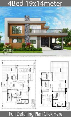 Home design plan 19x14m with 4 bedrooms 2 Storey House Design, Bungalow House Design, House Front Design, Duplex Design, Bungalow Exterior, Modern Bungalow, Sims House Plans, House Layout Plans, House Layouts